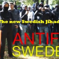 "The ""new"" Sweden; Islamic ally Antifa shouting ""Allahu Akbar"" in front of police"