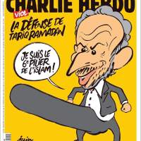 Doodsbedreigingen voor Charlie Hebdo vanwege deze cover met Tariq Ramadan Redactie doet aangifte